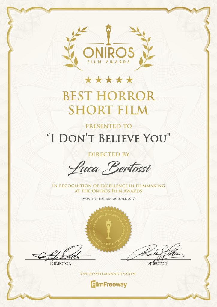 Best Horror Short Film - Oniros Film Awards